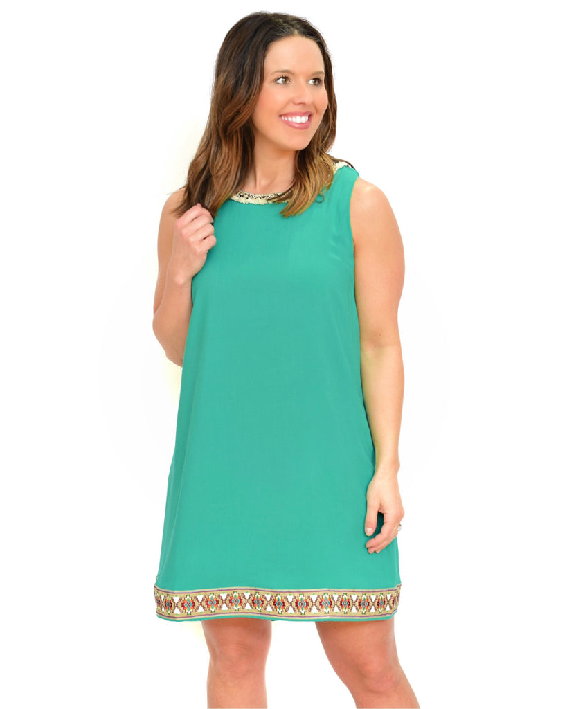 Green Tribal Trim Shift Dress