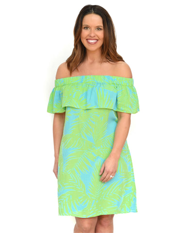 Escapada April Dress/Coverup - Aqua Celery Tropics