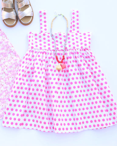 Smiling Button Candy Dots Swing Dress - Pink
