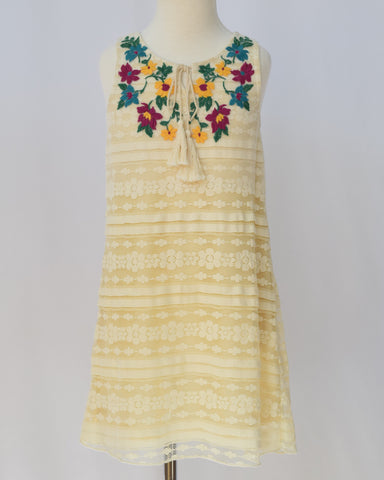 Truly Me Ivory Lace Shift Dress with Floral Embroidery - E + ME