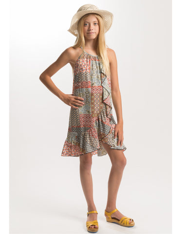 PPLA Girls Coral Print Sina Dress