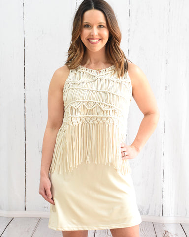 Judith March Cream Macrame Tank Dress - E + ME - 1