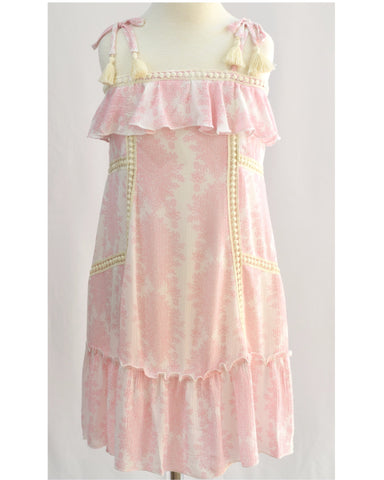 Hannah Banana Pink & White Ruffle Trim Patio Dress - E + ME