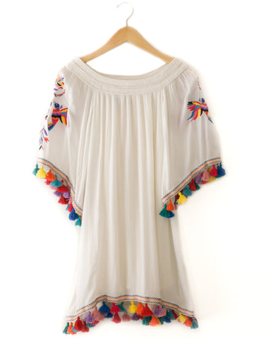 Judith March Off The Shoulder Dress with Tassels and Mexican Embroidery Detail - White