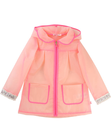 Billieblush Pink Jewel Trim Rain Coat