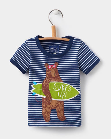Joules Archie Navy Bear Applique Tee