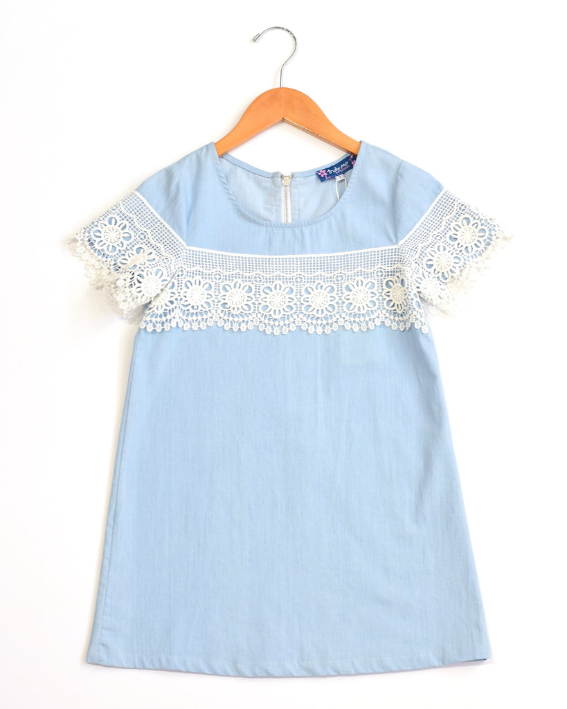 Truly Me Chambray Shift Dress with Lace Trim