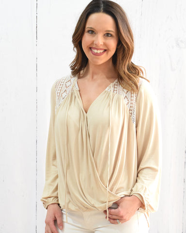 Long Sleeve V-Neck Top with Neck Tie - Beige - E + ME