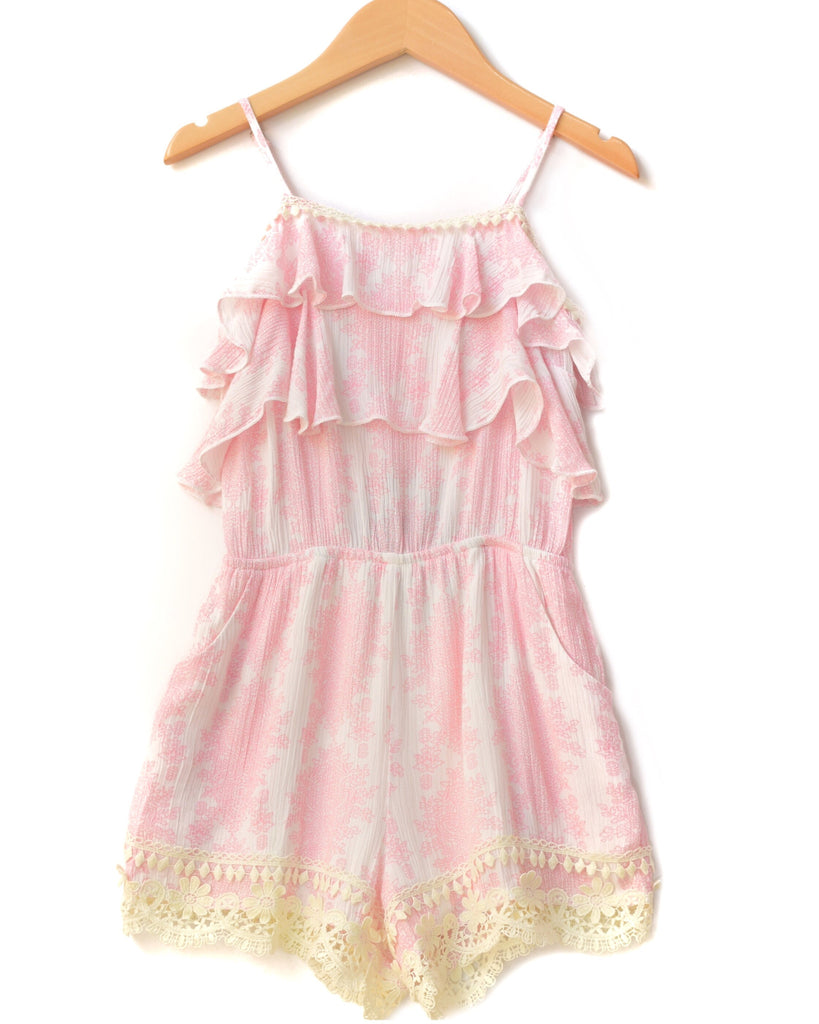 Hannah Banana Pink & White Romper with Lace Hem