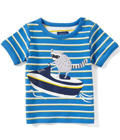 Joules Baby Blue Stripe 'Raccoon' Tee