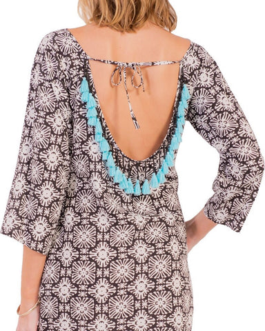 Escapada 3/4 Sleeve Sansa Coverup - Black White Cayman