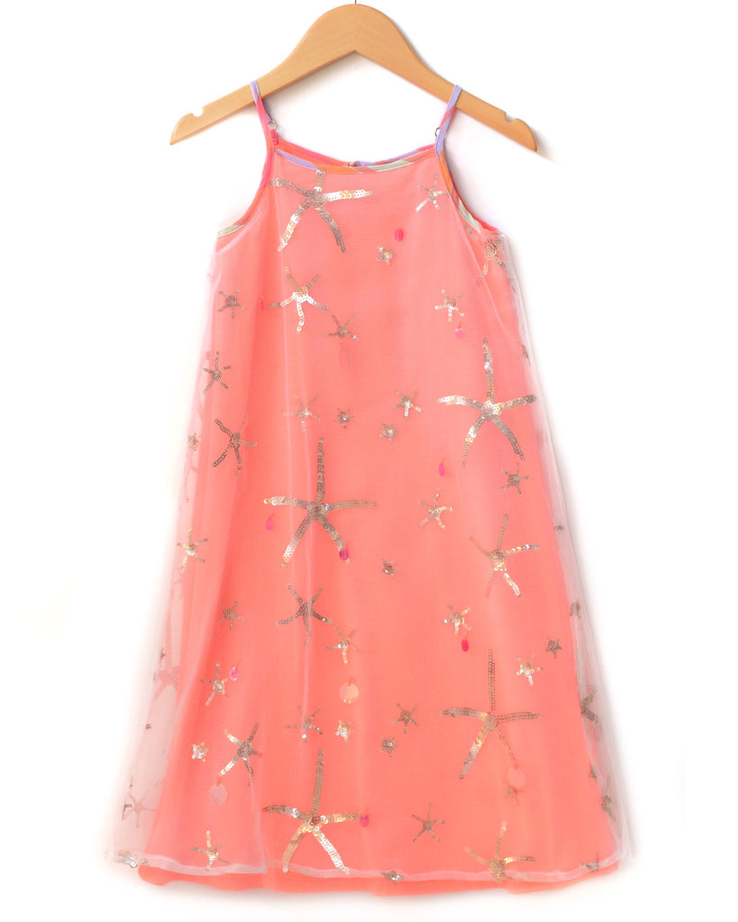 Baby Sara Coral 'Sequins & Starfish' Maxi Dress
