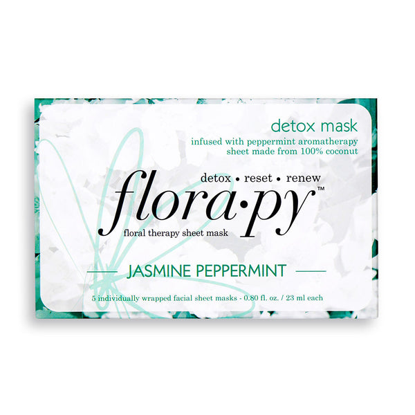 Detox Aromatherapy Sheet Mask, Jasmine Peppermint, 5 Count