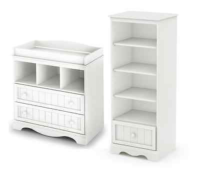 Changing Table Shelving Unit Drawers Nursery Baby Furniture Storage Dresser NEW