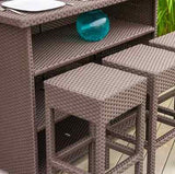Outdoor Patio Furniture Brown Wicker Table Set Bar Backless Stools Dining Pool
