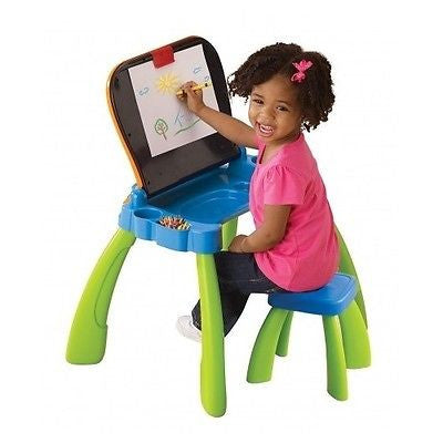 ... Kids Desk Activity Table Touch Learn Easel Chalkboard Chair Toddler  Games Toys ...