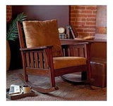 Mission Style Rocker Rocking Chair Furniture Indoor Cushions Sturdy Walnut Brown