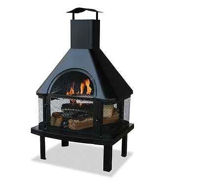 Black Outdoor Fireplace Backyard Wood Heater Deck Chimney Fire Pit Yard Burning