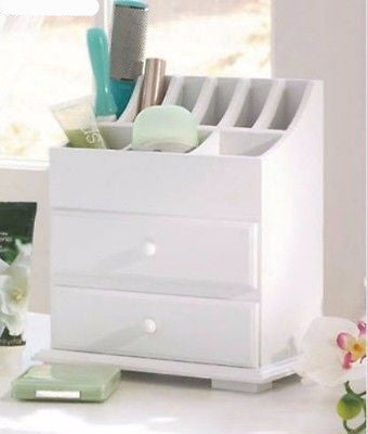 Makeup Storage Cosmetic Organizer White Wood Jewelry Drawers Desk Pen Home Box