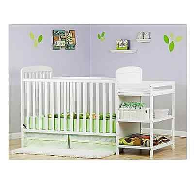 4 In 1 Crib Nursery Baby Convertible Changing Table Toddler Bed Combo Furniture