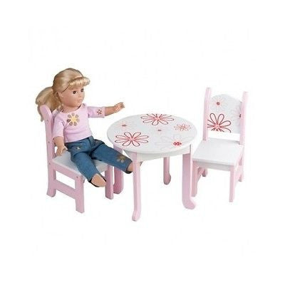 Dolls Furniture Table Chairs Wood Toy Pink White Flowers Fits American Girl Doll