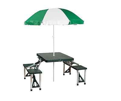 Portable Folding Outdoor Picnic Table Umbrella Camping Suitcase Seats 4 Beach
