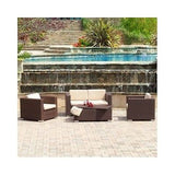 Patio Sets Outdoor Wicker Sofa Set Loveseat Chairs Table Furniture Seating Brown