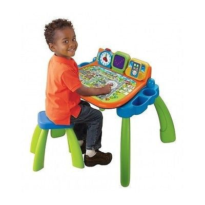 Kids Desk Activity Table Touch Learn Easel Chalkboard Chair Toddler Games Toys