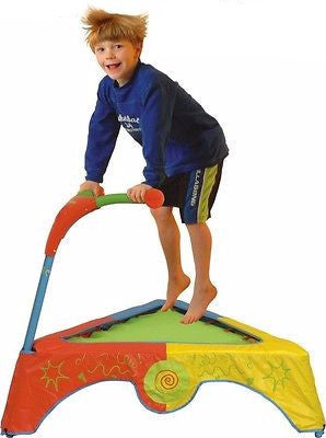 Toddler Trampoline Indoor Kids Educational Bounce Triangle Handles Fun Outdoor