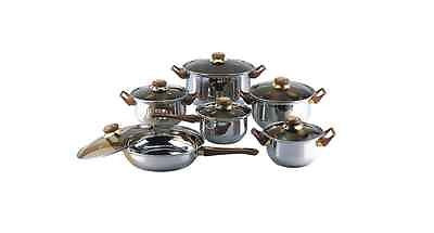 Cookware Set 12 Piece Pots Pans Covers Stainless Steel Kitchen Frying Pan Lids