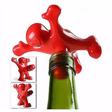 Novelty Bottle Stopper Gag Happy Man Reusable Plug Red Sealer Cap Adult Gift NEW