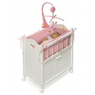 Baby Doll Toy Crib White Mobile Cabinet Pink Bedding Girls Furniture Wheels Wood