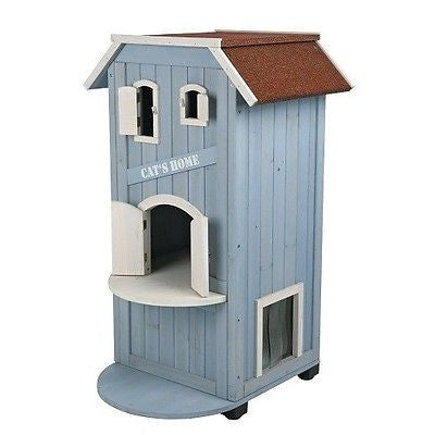 Pet Supplies Cat House Blue Condo Pine Wood Shelter Lounge Kitty Bed Outdoor NEW