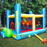 Bounce House Outdoor Game Dodgeball Inflatable Jumping Bouncer Kids Play Blower