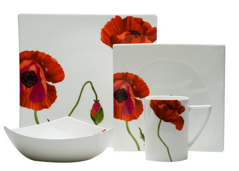 4 Piece Square Dinnerware Set Dishes Plates Dinner Bowls Mugs Floral White Red