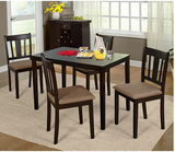 5 Piece Dining Set Kitchen Table Chairs Wood Microsuede Espresso Contemporary