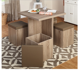 5 Piece Dining Set With Storage Ottomans