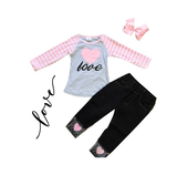 Girls Denim Love Outfit Toddler Jeans Shirt