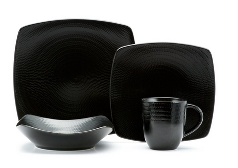 Black Dinnerware Set 16 Piece Stoneware Plates Dishes Bowls Mugs Kitchen Service