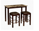 Breakfast Bar Set Kitchen 3 Piece Table Counter Stools Dining Island Furniture
