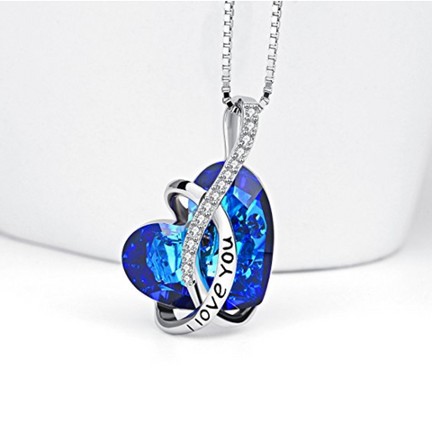 Heart pendant necklace sterling silver cz crystals jewelry i love heart pendant necklace sterling silver cz crystals jewelry i love you blue aloadofball Image collections