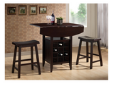 3 Piece Drop Leaf Pub Set With Wine Rack