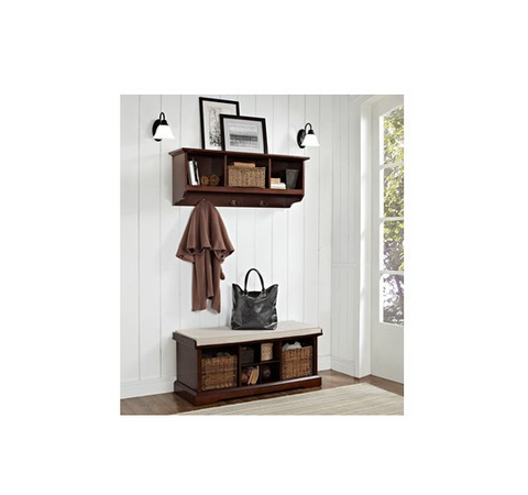 Swell Entryway Storage Bench Wall Shelf Set Cubbies Wicker Baskets Shoes Cushion Seat Uwap Interior Chair Design Uwaporg