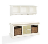 Entryway Storage Bench Wall Shelf Set Cubbies Wicker Baskets Shoes Cushion Seat