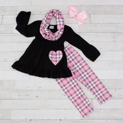 Girls 3 Piece Checkered Love Outfit Toddler Shirt Pant Set Scarf Heart Pink Black Clothes
