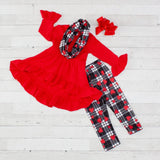 Girls 3 Piece Outfit Toddler Clothes Hearts Plaid Pants Top Scarf Tunic Set