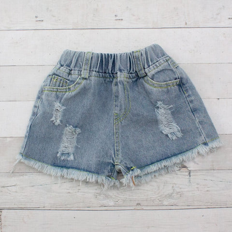 Girls Jean Shorts Distressed Denim