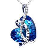 Heart Pendant Necklace Sterling Silver CZ Crystals Jewelry I Love You Blue
