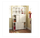 Kitchen Storage Cabinet Stackable Sliding Doors White Wood Pantry Organizer
