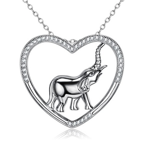 Lucky Elephant Heart Necklace